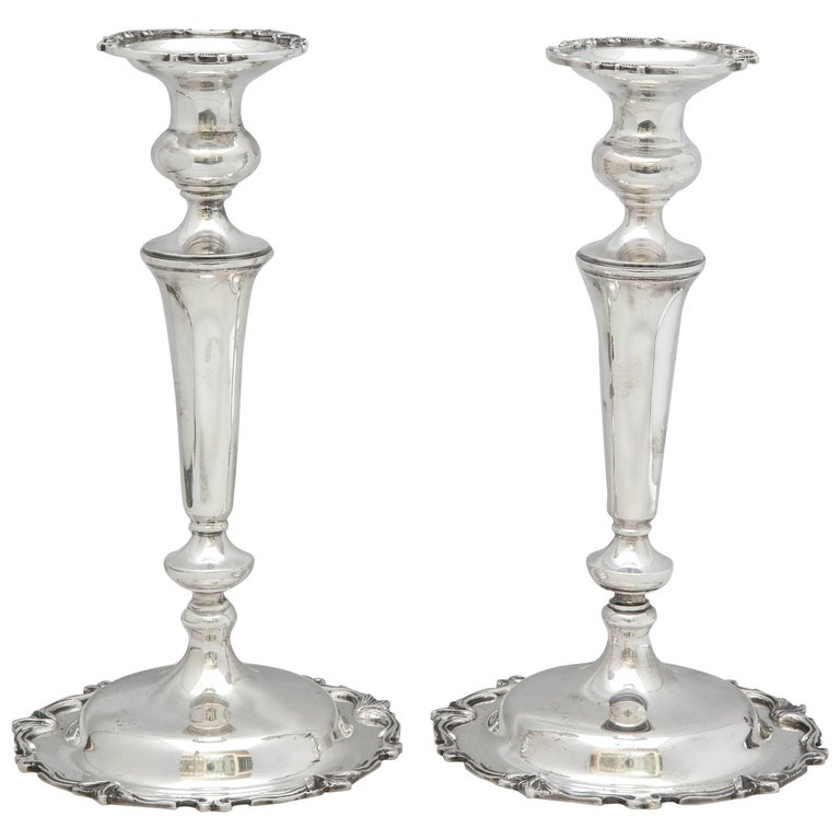 Pair of Tall Edwardian Style Sterling Silver Candlesticks