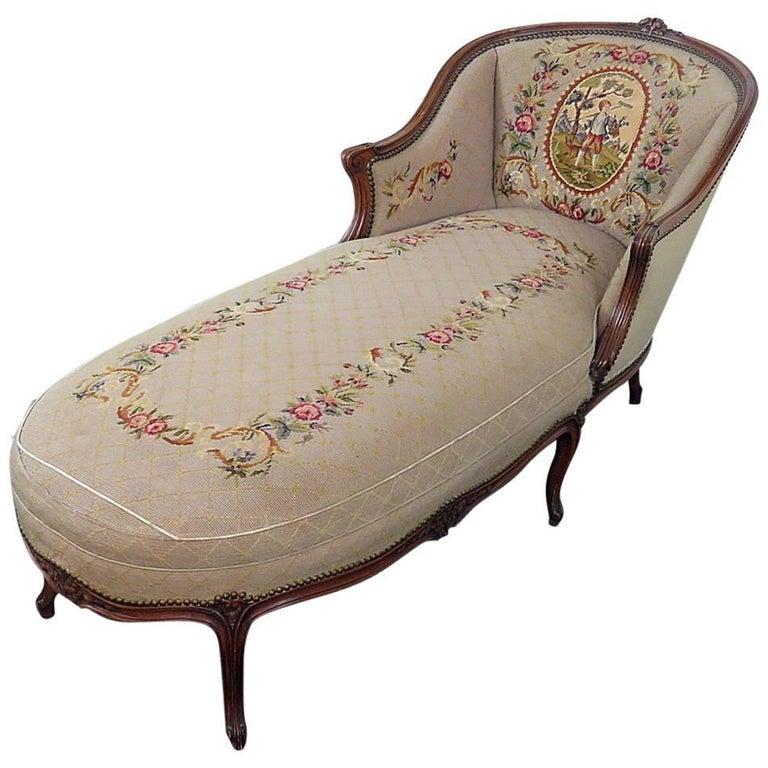 Louis XV Needlepoint Chaise Longue Chair
