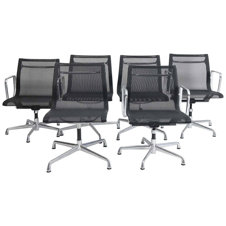 Six Eames Aluminum Group Management Chairs For Sale