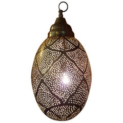 Moroccan Copper Wall / Ceiling Lamp or Lantern, Egg Shape