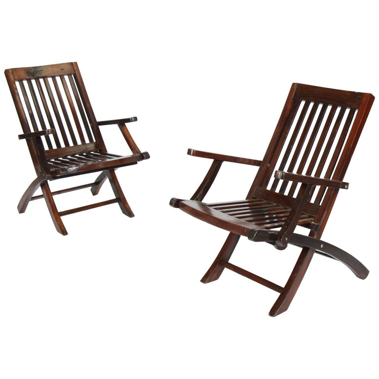 Pair of Rosewood Deck Armchairs For Sale