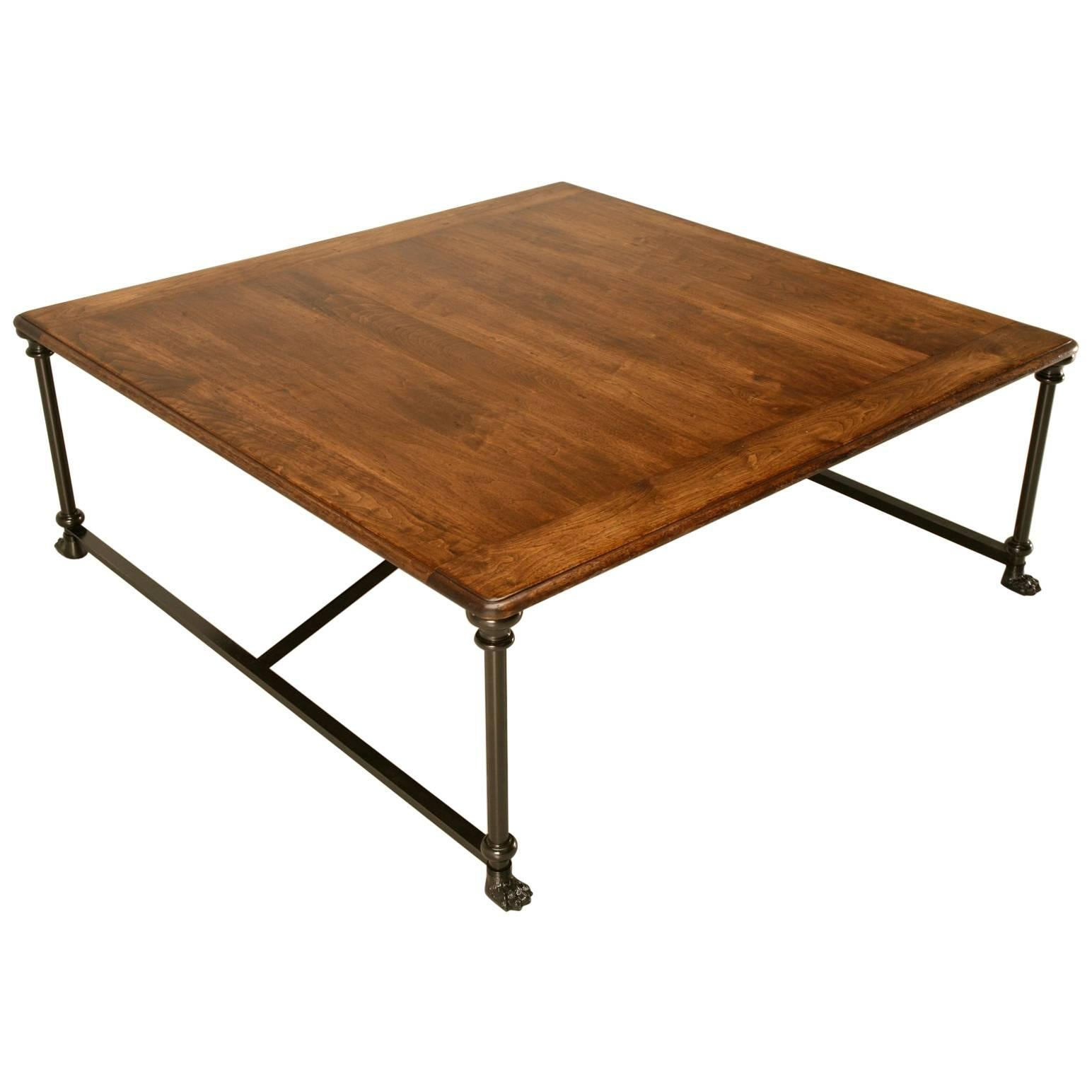 Coffee or Cocktail Table with Steel and Bronze Base