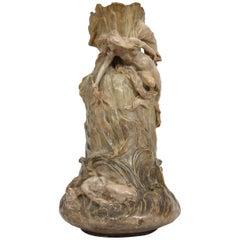 "Art Nouveau Vase of Goldscheider Signed ""Chere"""