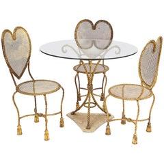 Italian Gilt Metal Heart Back Hollywood Regency Tassel Rope Dining Set