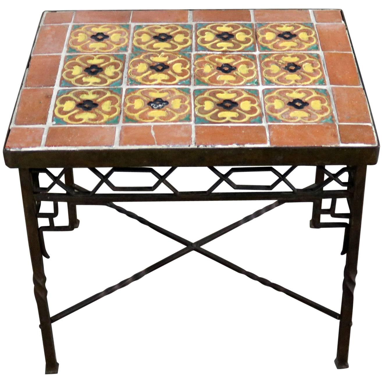 Art Deco Wrought Iron And Tile Side Table California Style Tiles For Sale