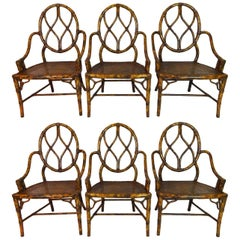 Set of Six Late 20th Century Faux Bamboo Armchairs