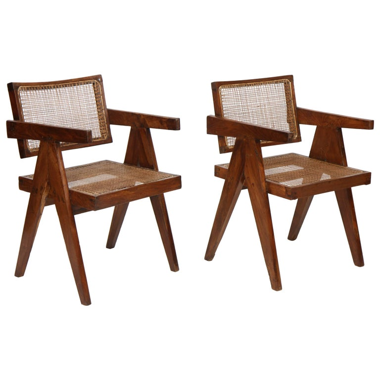 "Pair of ""Elegant Office Cane Chairs"" by Pierre Jeanneret For Sale"