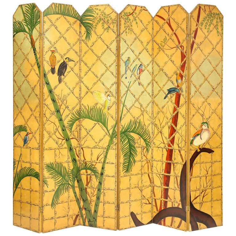 Massive Chinoiserie Six-Panel Hand-Painted Screen Room Divider