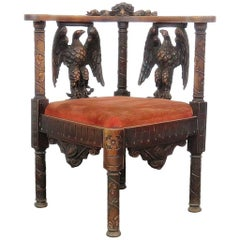 Carved Figural Corner Chair