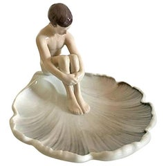 Bing & Grondahl Leaf shaped Art Nouveau Dish with Young Nude Man #1