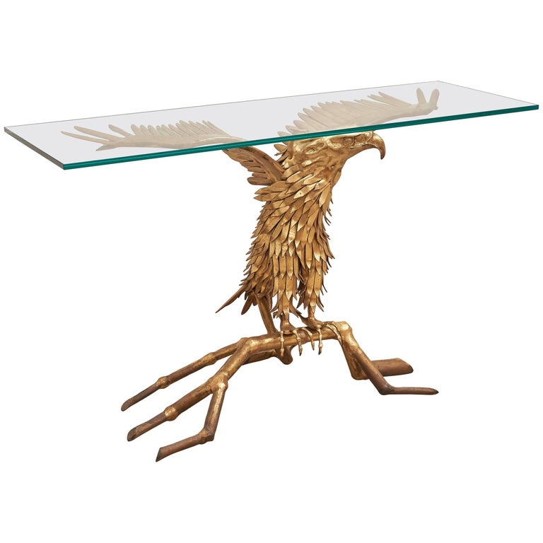 Eagle Brass Sculpture by Christian Techoueyres for Maison Jansen Console Table For Sale