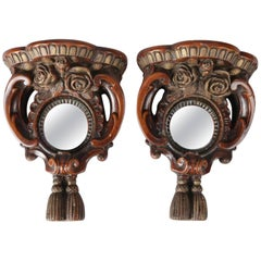Pair of French Carved Hardwood Bullseye Mirrored Grain Painted Wall Sconces