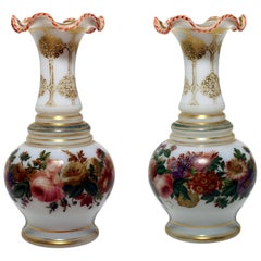Pair of White Opeline Baluster Vases with Floral Band and Gilt