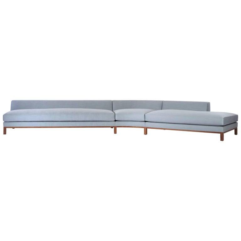 Loft Sofa curved sofa loose seat cushions sofa walnut legs curved shape      For Sale