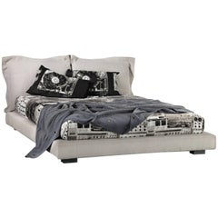 """Nebula Five 170"" Cotton Linen Leather or Velvet Double Bed by Moroso for Diesel"