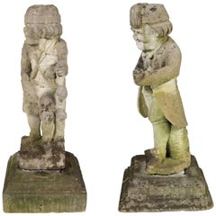 Pair of Whimsical Carved Calcareous Sandstone Garden Dwarves