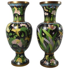 Pair of Black Chinese Cloisonne Vases with Birds and Butterflies