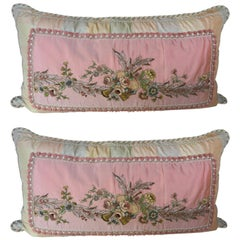 Pair of Antique Metallic and Chenille Embroidered Pillows