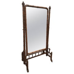Late 1800s French Colonial Faux Bamboo Floor Mirror