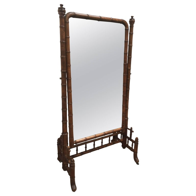 Late 1800s French Colonial Faux Bamboo Floor Mirror For Sale