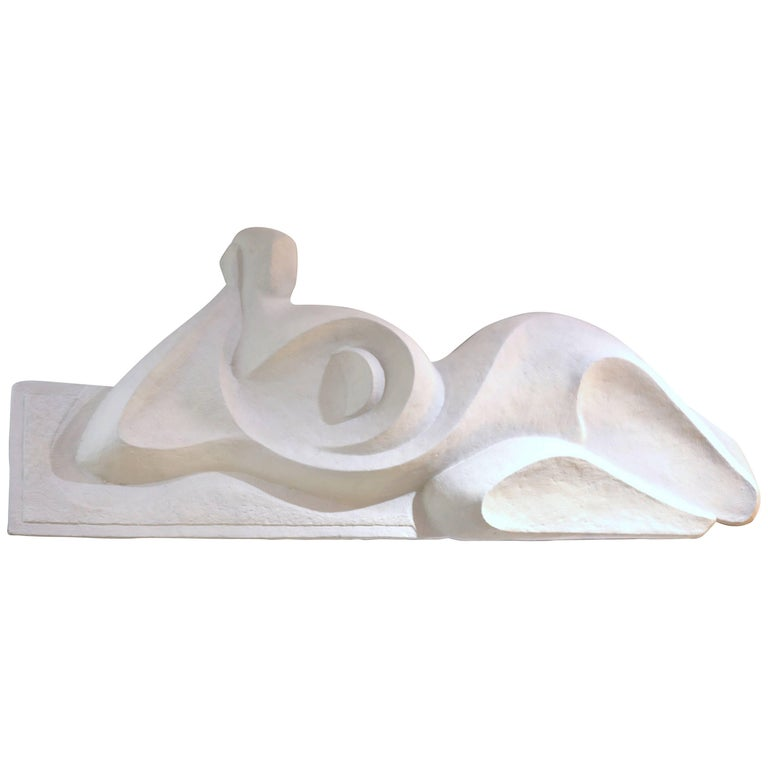 Wall Sculpture of a Stylized Reclining Female Nude