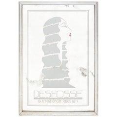 Vintage Verre Églomisé Desfosse French Lady Wall Mirror