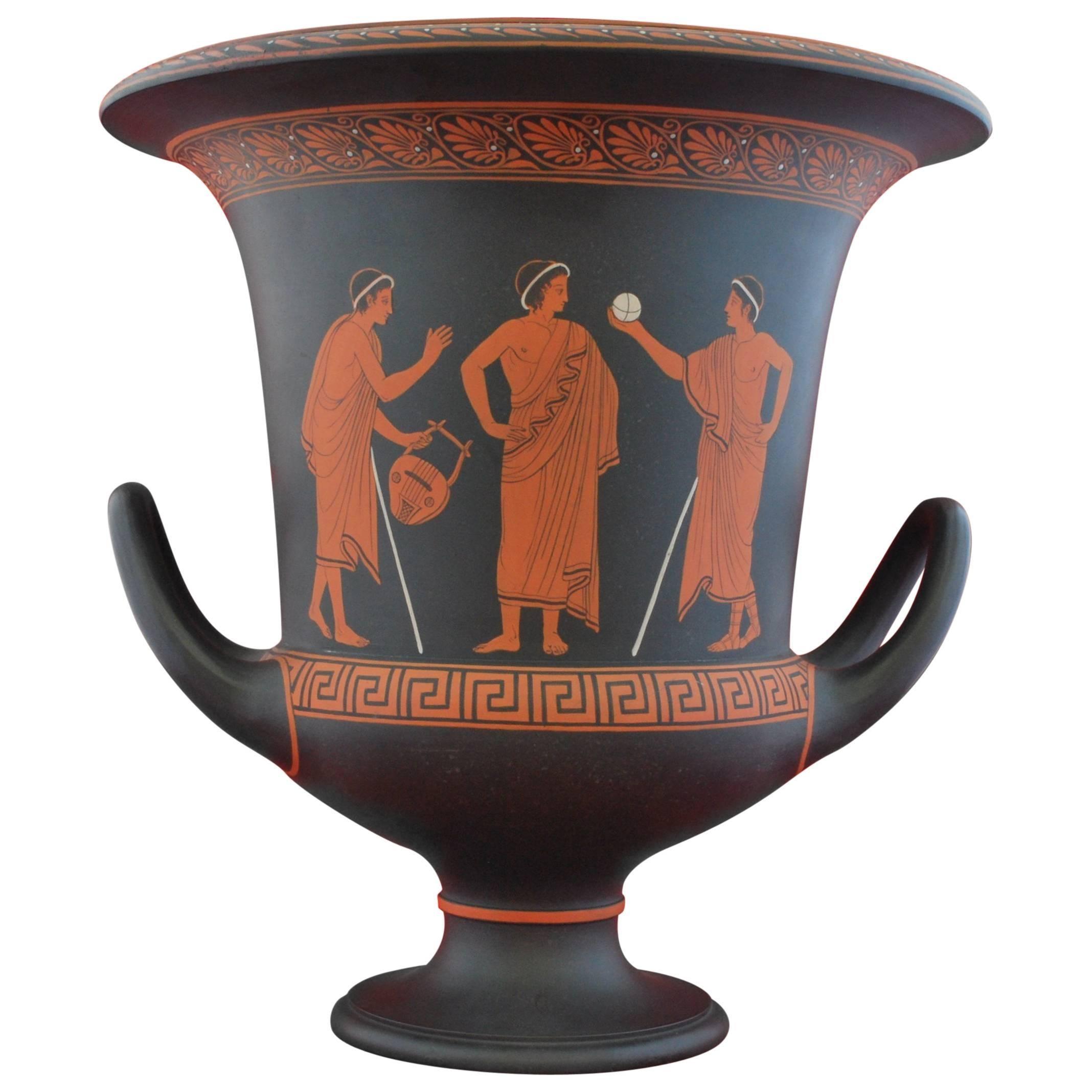 Encaustic Painted Basalt Vase, Wedgwood, circa 1785