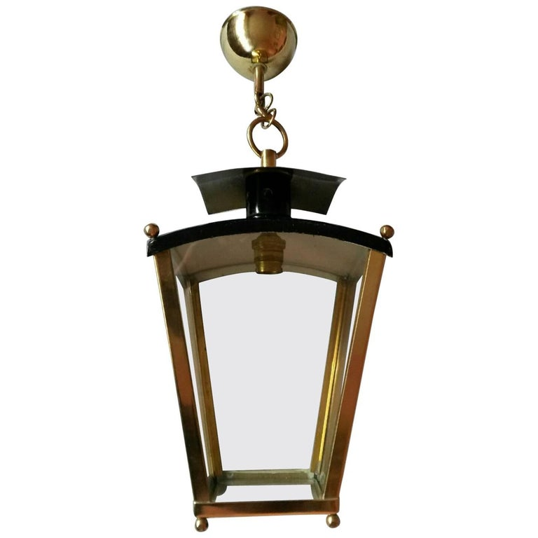 French Mid-Century Modern Brass and Black Lacquered Lantern Pendant