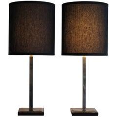 1960s Delvaux Créateur Midcentury Leather Belgium Orientable Table Lamps
