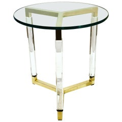Charles Hollis Jones Metric Line Cocktail Table in Lucite and Brass