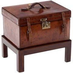 19th Century Victorian Leather Travel Box on Stand