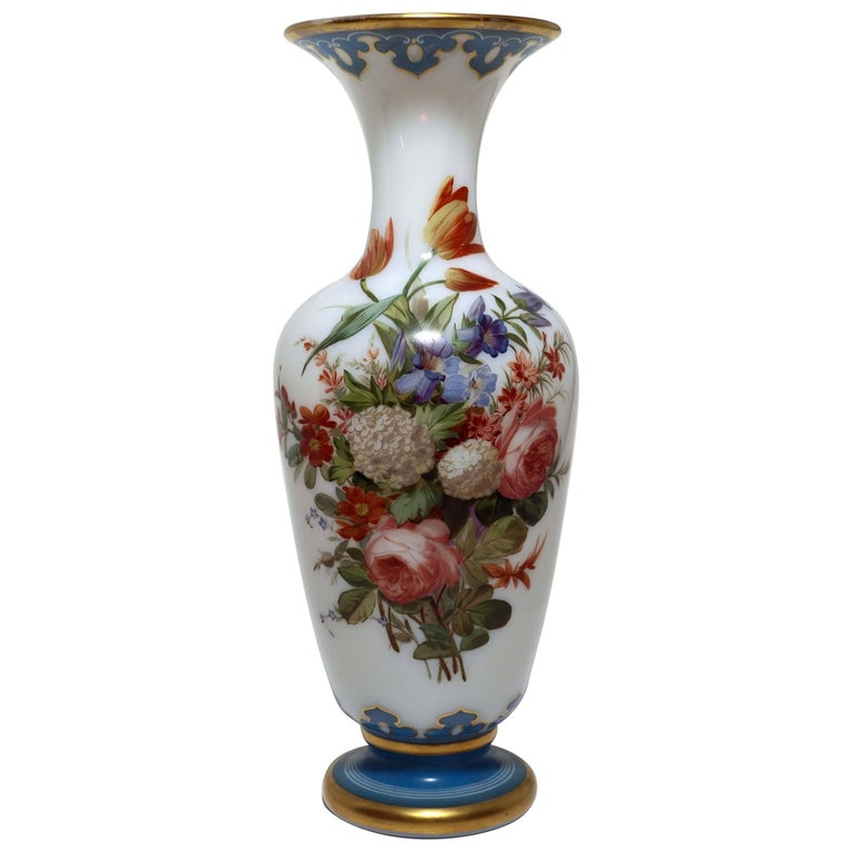 White Opaline Baccarat Glass Floral Painted Vase For Sale At 1stdibs