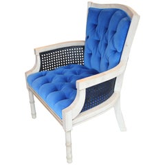 Modern French Tufted Blue Velvet Bleached Lounge Chair with Cane Sides