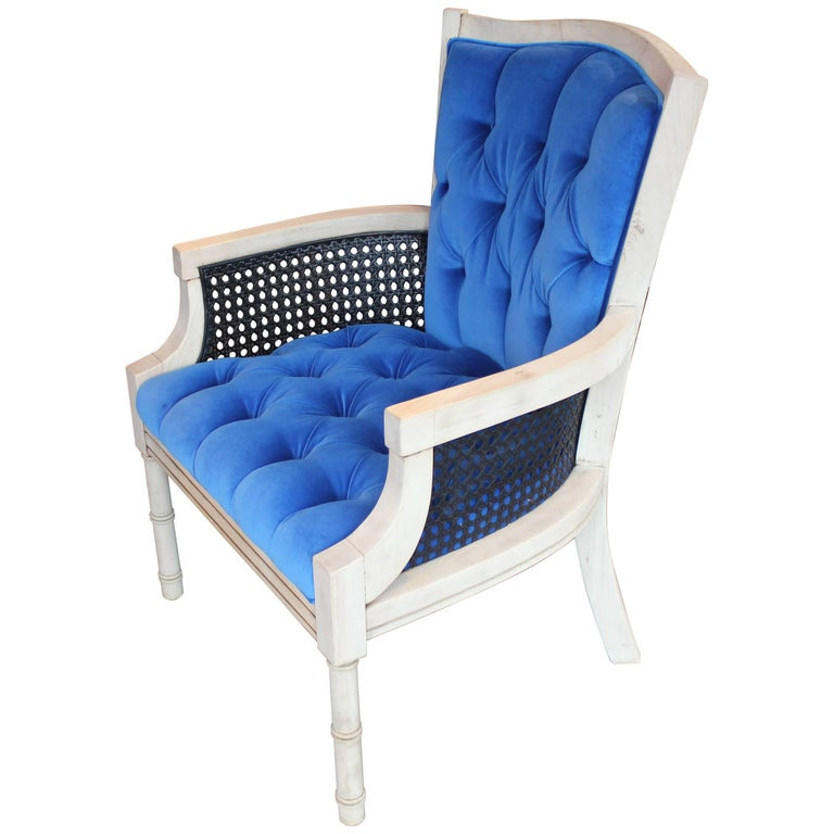 Modern French Tufted Blue Velvet Bleached Lounge Chair with Cane Sides For Sale