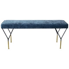 Midcentury Italian Black Lacquer and Brass Bench with Blue Velvet