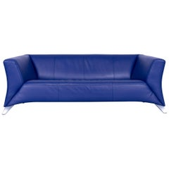 Rolf Benz Designer Sofa Blue Three-Seat Leather Modern Couch Metal Feet RAL 5013