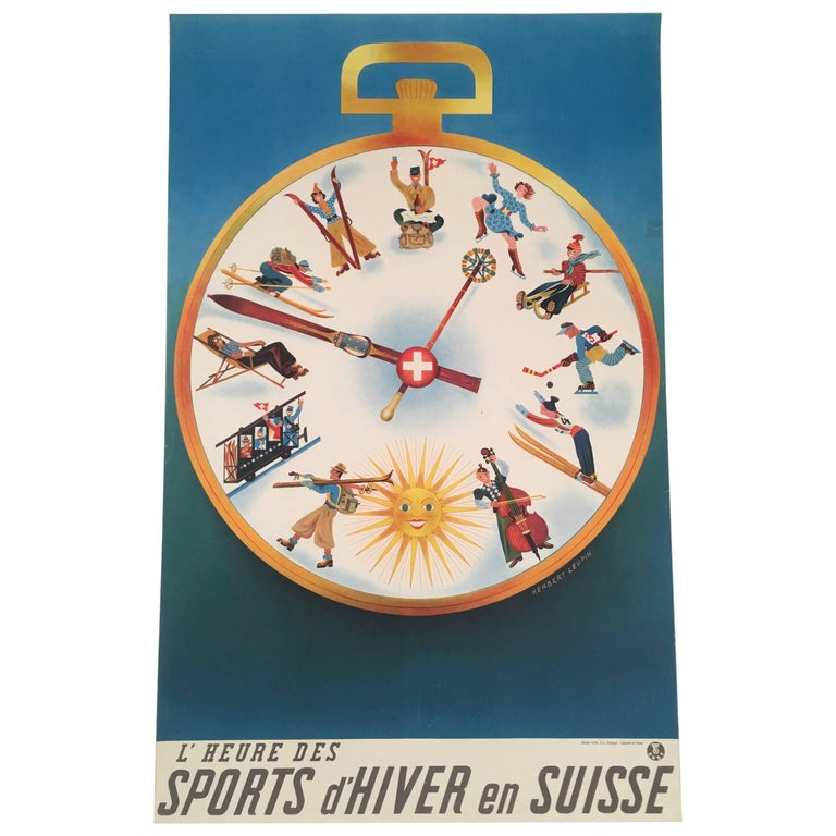 Swiss Winter Sports Travel Poster by Herbert Leupin For Sale