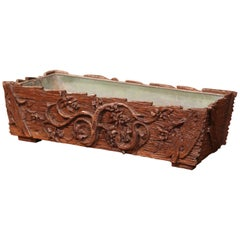 19th Century French Black Forest Carved Walnut Jardinière with Zinc Liner