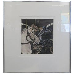 """Neck and Neck ii"" Hand Colored Aquatint Signed C. S. Fitzsimonds"