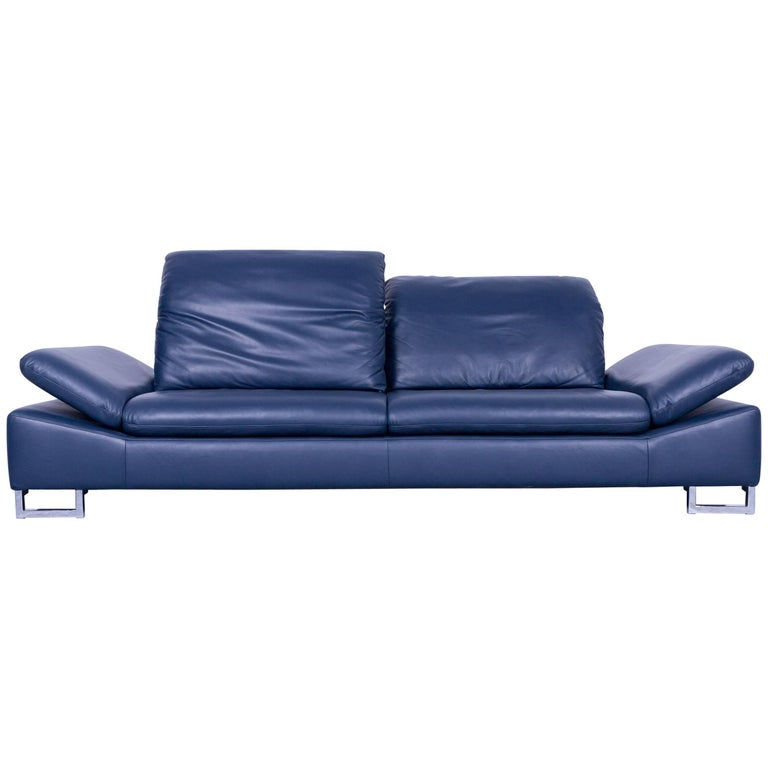 willi schillig designer sofa three seat blue leather. Black Bedroom Furniture Sets. Home Design Ideas