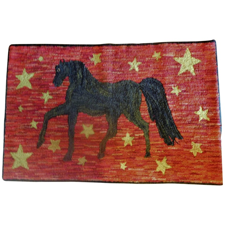 Prancing Morgan Horse on a Hooked Hearth Rug, American Folk Art, 19th Century