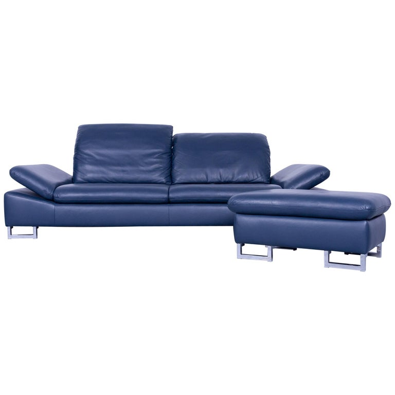 willi schillig designer sofa set three seat and armchair blue leather function for sale at 1stdibs. Black Bedroom Furniture Sets. Home Design Ideas