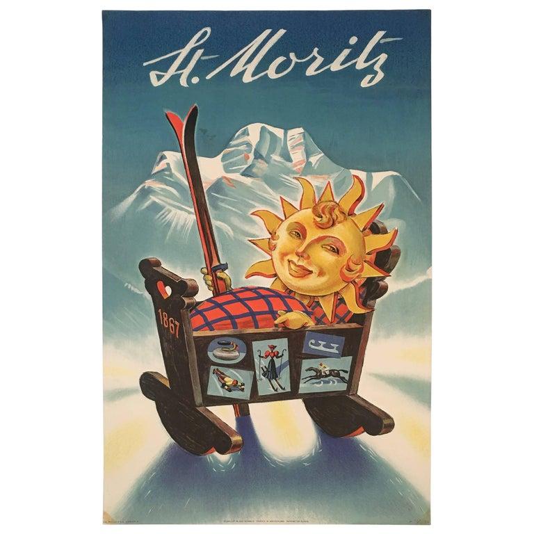 St. Moritz Ski Winter Sports Poster