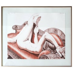 Mid-Century Modern Lithograph Nude Signed Dated Philip Pearlstein, 1970s