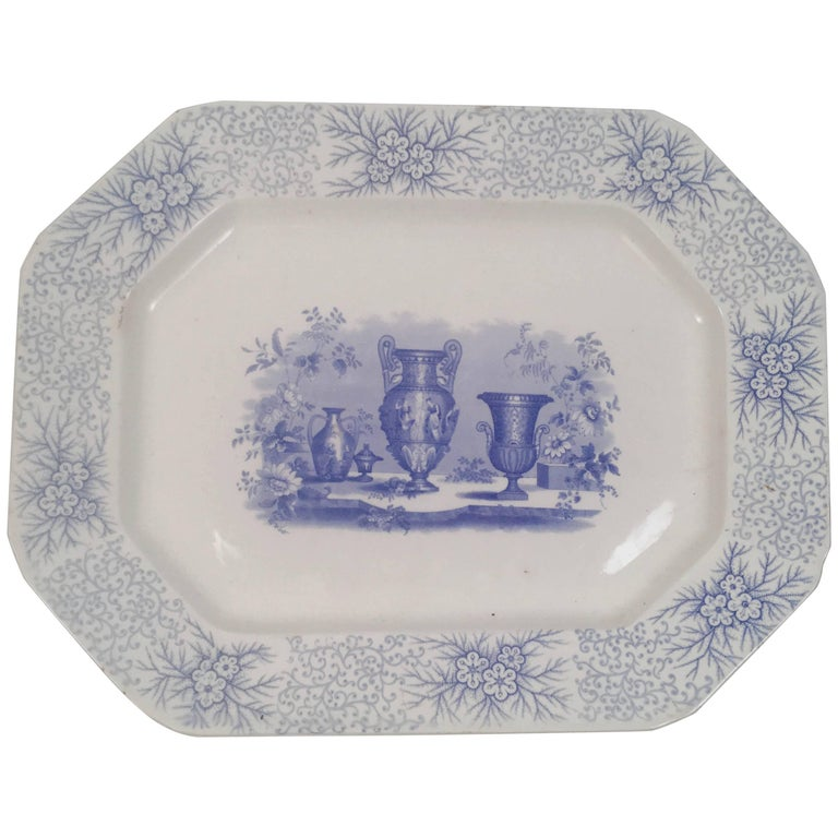 Blue and White Neoclassical Staffordshire Platter with Provenance For Sale