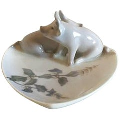 Royal Copenhagen Art Nouveau Dish with Two Pigs #1233/953