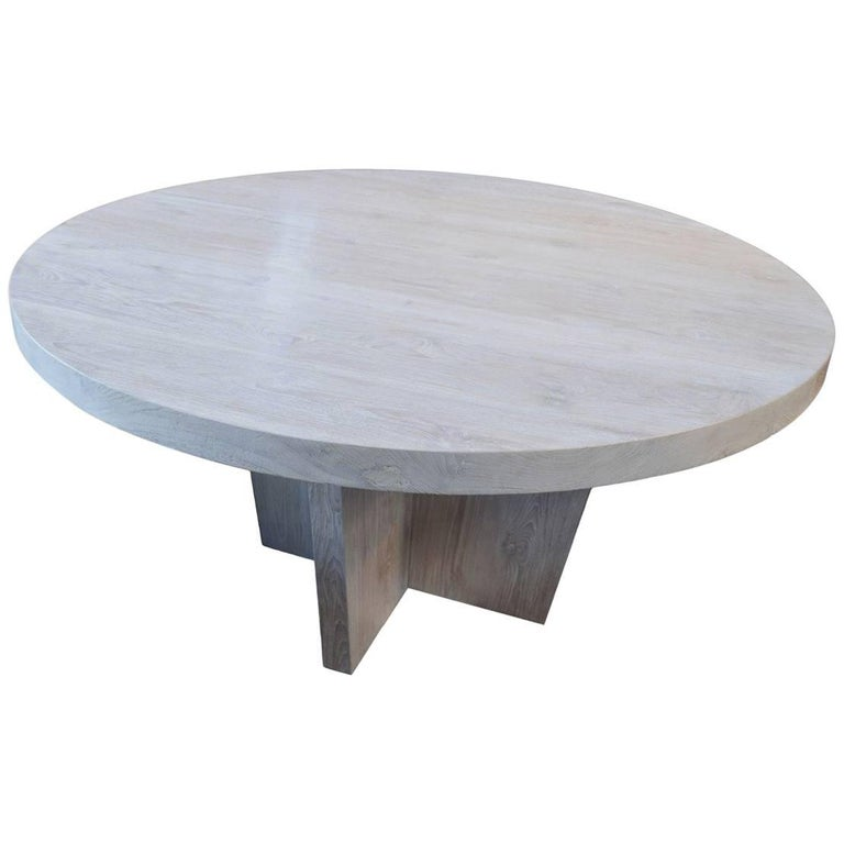 Round St. Barts Teak Wood Dining Table For Sale