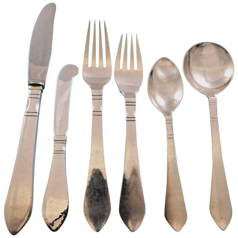 continental georg jensen sterling silver flatware set 12 service 72 pc dinner for sale at 1stdibs. Black Bedroom Furniture Sets. Home Design Ideas