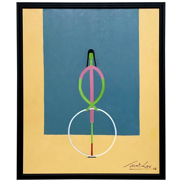 Girl with a Hoop Painting Oil on Canvas by Saint Lou, 1962