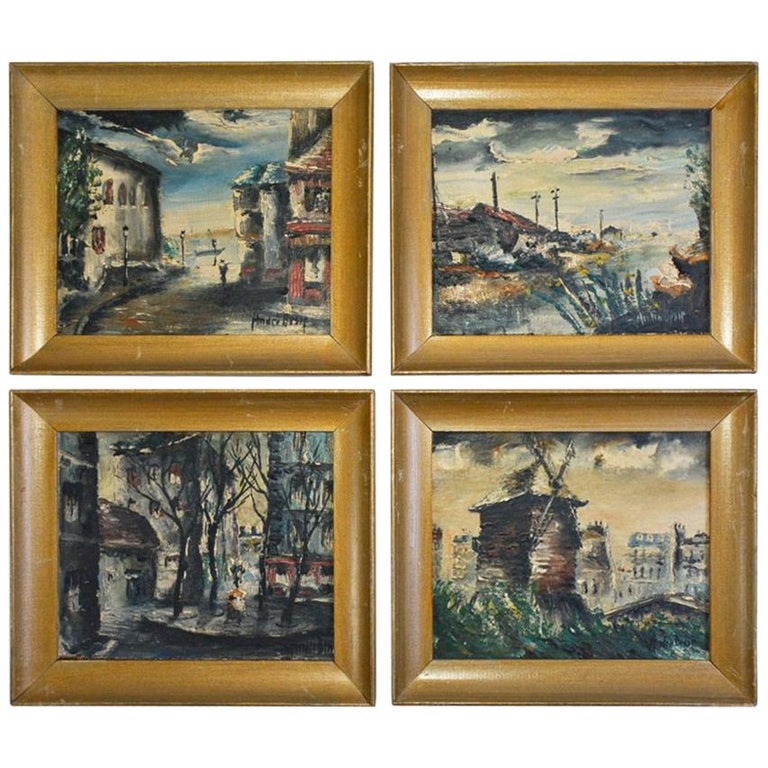 Four Small 20th Century Parisian Landscapes in Oil by Andre Bessp For Sale